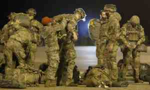 Members of 173rd airborne brigade of the US army and prepare to be dropped into Bulgaria on 11 Ma