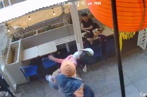 The man attacking the woman in Chinatown on May 31, 2021. Twitter,