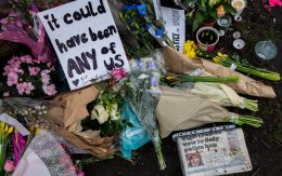 LONDON, ENGLAND – MARCH 16: Floral tributes left at Clapham Common bandstand where people continue to pay their respects to Sarah Everard on March 16, 2021.