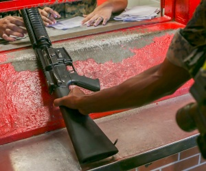 A recruit receives a rifle at Marine Corps Recruit Depot, Parris Island, S.C.