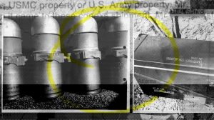 A photo illustration combining photos of grenades collected as evidence in an investigation into stolen military explosives.