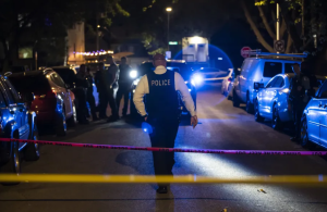 Chicago police investigate Saturday night in the 3700 block of West McLean Avenue in Logan Square, where authorities said a 29-year-old man was shot multiple times.