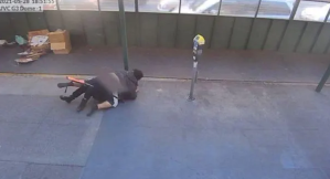 PHOTO: Surveillance video obtained by ABC San Francisco station KGO shows a suspect attacking a police officer in San Francisco on May 28, 2021. (Obtained by KGO)