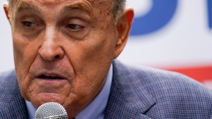 FILE - In this June 21, 2021, file photo former New York City Mayor Rudy Giuliani speaks during a campaign event for Republican mayoral candidate Curtis Sliwa in New York. (AP Photo/Mary Altaffer, File)