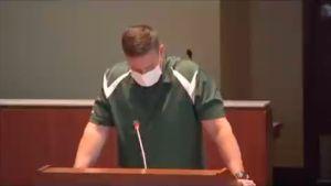 Loudoun County School Board meeting video screenshot.