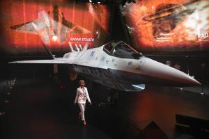 A prototype of Russia's prospective fighter jet is displayed at the MAKS-2021 International Aviation and Space Salon in Zhukovsky outside Zhukovsky, Russia, Tuesday, July 20,