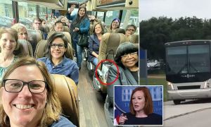 Texas State Rep. Julie Johnson posted a selfie or her and other Democratic lawmakers in a coach bus as they fled the state on private jets for Washington D.C. to prevent Texas Republicans from passing voting integrity legislation.