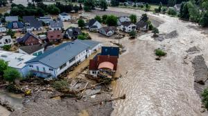 Damaged houses at the Ahr river in Insul, western Germany, Thursday, July 15, 2021.(AP Photo/Michael Probst)