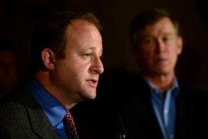 Gov. John Hickenlooper, right, and U.S. Rep. Jared Polis, D-Boulder, (Photo by Kathryn Scott Osler/The Denver Post)