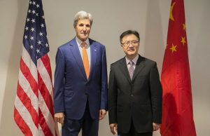 John Kerry and Chinese deputy environment minister Zhai Qing in 2016 (Cyril Ndegeya/AFP via Getty Images)