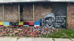 George Floyd mural destroyed by lightning strike,
