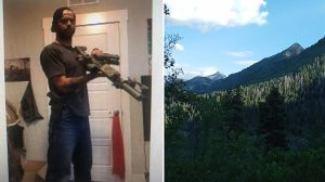 Everett, pictured left in an undated social media photo, holds what appears to be a rifle with a magazine. Authorities shared a photo, right, of the approximate location near Provo Canyon where Everett was taken into custody on Friday.