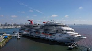 The Carnival Panorama cruise ship sits docked in Long Beach, Calif., on April 16, 2020. (Lucy Nicholson/Reuters)