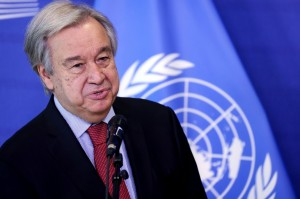 United Nations Secretary General António Guterres gives a statement.