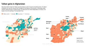 Map shows areas controlled by Taliban. (Associated Press)