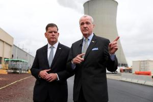 New Jersey Gov. Phil Murphy (right) and U.S. Secretary of Labor Marty Walsh speak Sept. 9, 2021, at a groundbreaking event for the New Jersey Wind Port.