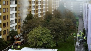 Apartment building hit by an explosion in Gothenburg. © Bjorn Larsson Rosvall / TT News Agency via REUTERS