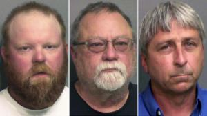 """This combo of booking photos provided by the Glynn County, Ga., Detention Center, shows from left, Travis McMichael, his father Gregory McMichael and William """"Roddie"""" Bryan Jr.  (Glynn County Detention Center via AP)"""