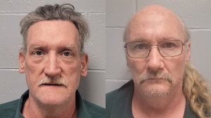 Timothy Norton, 56, and James Phelps, 58, are facing charges after they allegedly kept a missing woman in a cage in Missouri. (Dallas County Sheriff's Office)