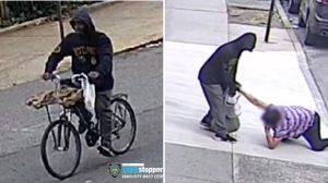 Surveillance stills of a suspect caught on video attacking and trying to rob a 65-year-old woman in Fort Greene, Brooklyn on Sept. 28, 2021, police said. (NYPD)