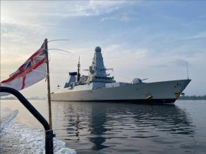 U.K. Royal Navy guided-missile destroyer HMS Diamond (D-34) leaving Singapore on Oct. 8, 2021. Royal Navy Photo